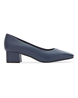 Flexi Sole Block Heel Leather Court Shoes Wide E Fit