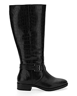 Mock Croc High Leg Boots Wide E Fit Curvy Calf Width