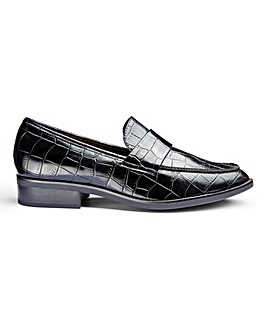 Flexi Sole Mock Croc Loafers Wide E Fit