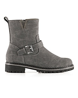 Cleated Sole Warm Lined Buckle Detail Ankle Boots Extra Wide EEE Fit