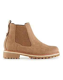 Cleated Sole Warm Lined Pull On Chelsea Boots Wide E Fit
