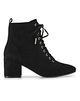 Flexi Sole Lace Up Block Heel Ankle Boots Wide E Fit