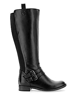 Elastic Back Panel High Leg Boots Wide E Fit Super Curvy Calf