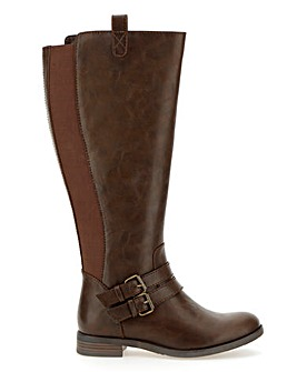 Elastic Back Panel High Leg Boots Wide E Fit Curvy Calf
