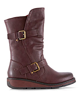 Heavenly Feet Double Buckle Detail Mid Boots Wide E Fit