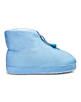 Warm Lined Zip Up Slipper Boots Wide E Fit