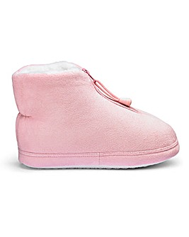 Warm Lined Zip Up Slipper Boots E Fit
