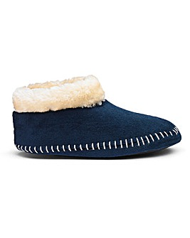 Warm Lined Pull On Slipper Boots Wide E Fit
