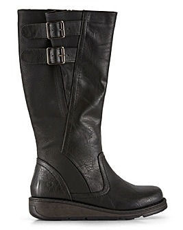Heavenly Feet High Leg Double Buckle Boots Wide E Fit Curvy Calf