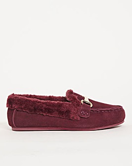 Suede Trim Loafer Slipper Extra Wide EEE Fit