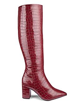 Flexi Sole High Leg Croc Print Boots Wide E Fit Standard Calf Width
