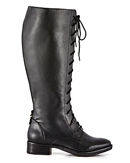 High Leg Lace Front Riding Boots Wide E Fit Curvy Calf