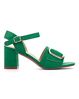 Buckle Detail Block Heel Sandals E Fit