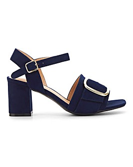 Flexi Sole Buckle Detail Block Heel Sandals Wide E Fit