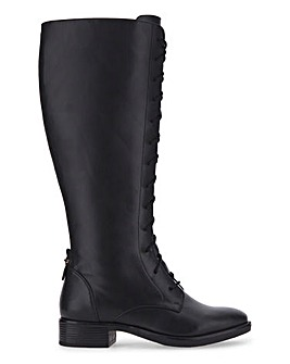 High Leg Lace Front Riding Boots Wide E Fit Curvy Plus Calf