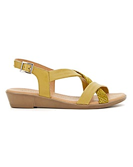 Leather Tubular Cross Strap Sandals Extra Wide EEE Fit