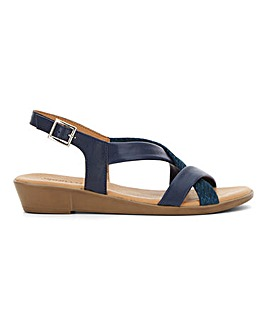 Leather Tubular Cross Strap Sandals Wide E Fit