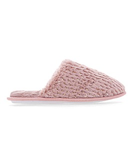 Fluffy Mule Slippers Wide E Fit