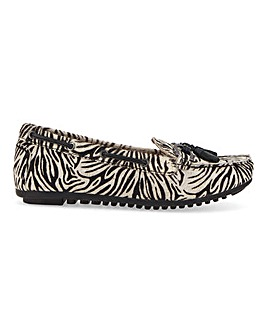 Premium Animal Print Tassel Loafers Wide E Fit