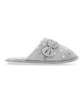 Bow Detail Mule Slippers Extra Wide EEE Fit