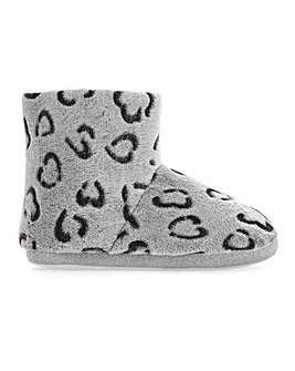 Animal Print Slipper Boots Extra Wide EEE Fit
