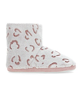 Animal Print Slipper Boots Wide E Fit