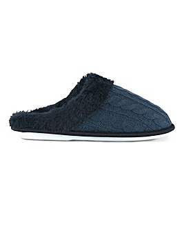 Cable Knit Mule Slippers Wide E Fit