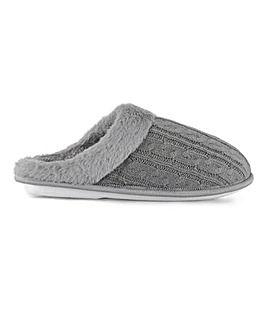 Cable Knit Mule Slippers Extra Wide EEE Fit