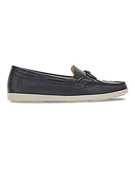 Leather Bow Trim Loafers Wide E Fit
