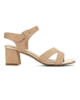Flexi Sole Glitzy Block Heel Sandals Wide E Fit