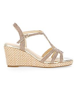 Glitzy Wedge Sandals Extra Wide EEE Fit