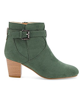 Flexi Sole Buckle Heeled Ankle Boots Wide E Fit