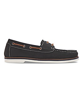 Leather Lace Up Boat Shoes Wide E Fit