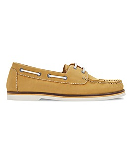 Leather Lace Up Boat Shoes Extra Wide EEE Fit