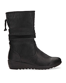 Cushion Walk Ruched Mid Boots Wide E Fit