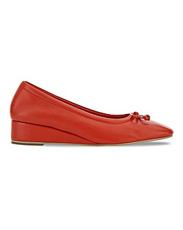 Leather Square Toe Low Wedge Ballerinas Extra Wide EEE Fit