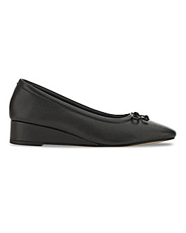 Leather Square Toe Low Wedge Ballerinas Wide E Fit