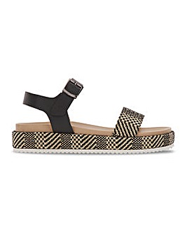 Soft Leather Flatform Sandals Extra Wide EEE Fit