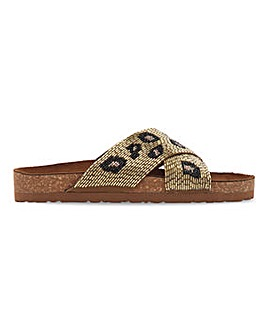 Beaded Crossover Footbed Sandals Extra Wide EEE Fit