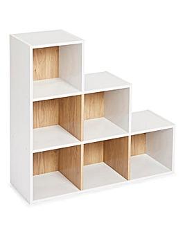 Two Tone Cube Shelves - 6 Cube Unit