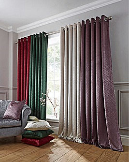 Lined Textured Velvet Eyelet Curtains