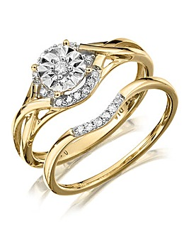 9 Carat Gold Fancy Diamond Bridal Ring Set