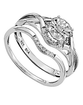 9 Carat Gold Fancy Diamond Bridal Ring Set