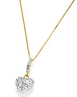 Crystal Glitz 9 Carat Gold Heart Pendant