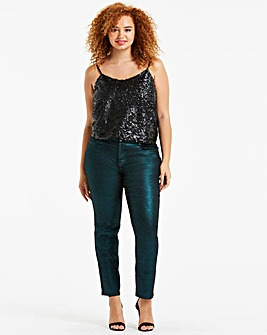 Emerald Glitter Sadie Slim Leg Jeans