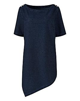 Premium Jersey Denim Asymmetric Tunic