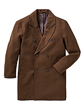 Brown Military Wool Double Breasted Coat Regular