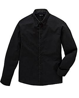 Black Plain Trim Front Shirt Long