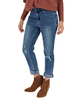 Fern Dark Stonewash Ripped Slim Boyfriend Jeans Regular Length
