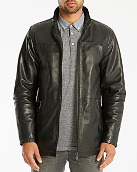 Jacamo Black Label Leather Jacket Regular